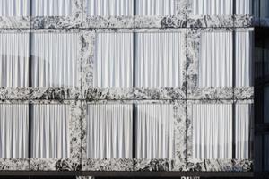 Das Gebäude verfügt über eine Close-Cavity-Fassade (CCF), die mit einem Onyx-Muster bedruckt ist<br />