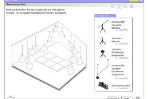 Auswahl der Messgeräte im virtuellen Prüfstand zur Bestimmung des Schallabsorptionsgrads (Bild: Lehrstuhl für Bauphysik der Universität Stuttgart)