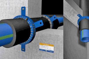 """Abschottung von aquatherm-""""blue pipe""""-Kälteleitungen mit""""Curaflam""""-Manschette """"XS<sup>Pro</sup>"""" von Doyma"""