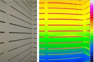 Foto (links) und Thermografieaufnahme (rechts) der installierten Dämmung