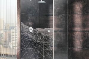 Glasdusche mit Lasergravur
