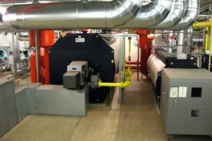 Im Kesselhaus der NürnbergMesse produzieren fünf Gas-Brennwertkessel mit Leistungen zwischen 550 kW und 11,2 MW zusammen mit 3 MW Fernwärme die Heizwärme für die Messehallen<br />
