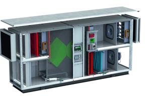 """Die Produktserie """"ComfoAir XL"""" bietet Großgeräte zur komfortablen Raumlüftung in Mehrfamilienhäusern und Gewerbebauten mit einem Wärmerückgewinnungsgrad von bis zu 90%. Ein Sommer-Bypass ist serienmäßig enthalten, auch Vorheiz-, Nachheiz- und Kühlregister können eingebunden werden."""