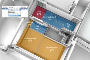 """Bauteillagen werden in """"DDS-CAD"""" auch in komplexen architektonischen Situationen, z. B. versetzten Geschossen, automatisch korrekt erkannt und in der Heizlast berücksichtigt.<br />"""