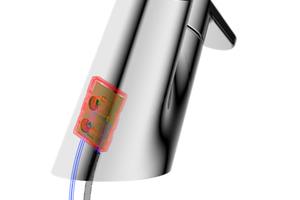 Ein PSD-Sensor erkennt zuverlässig die Handposition des Nutzers. Die kurze Sensor-Reichweite von 3 cm verhindert eine versehentliche Auslösung.
