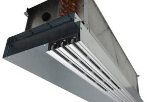 """Mit nur 300 mm Gerätehöhe findet das """"VKL SystemIndivent"""" – eine Kombination aus Fancoil und Schlitzauslass – in den abgehängten Decken von Büros oder Verkaufsräumen leicht Platz.<br />"""