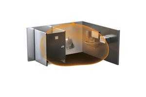 Räume können mit HF-Sensoren lückenlos und zuverlässig überwacht werden. Es ist auch möglich, Bewegungen hinter Gegenständen, z.B. aus Glas oder Holz, und auch hinter Leichtbauwänden zu erfassen; hier das Beispiel einer WC-Anlage.<br />