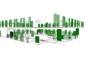 """<div class=""""grafikueberschrift"""">Nord-West Perspektive </div>Berechnung am 3D-Modell mit liNear-Heizungsrohrnetzberechnung"""