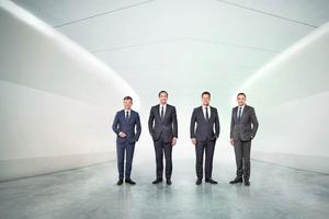 Der Vorstand der Wilo Gruppe (v.l.n.r.): Dr. Markus Beukenberg (CTO), Eric Lachambre (COO), Oliver Hermes (Vorsitzender des Vorstands & CEO) und Carsten Krumm (COO).