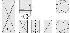 """<div class=""""grafikueberschrift"""">System 5</div>Abluftdirektbefeuchtung mit Umlaufwasser und GegenstromRekuperator"""